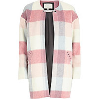 Pink brushed check coat