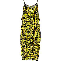Lime animal print layered midi slip dress