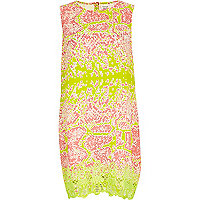 Lime abstract snake print shift dress