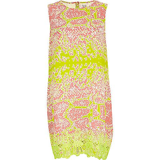 Lime abstract snake print shift dress
