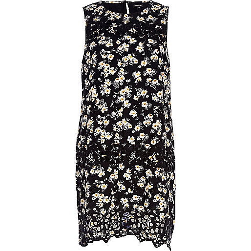 Black floral embroidered shift dress