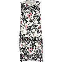 White floral print embroidered shift dress