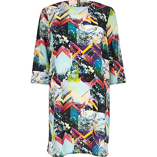 Multicoloured abstract print sack dress