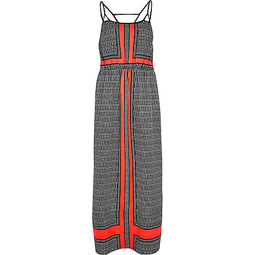 Coral colour block strappy maxi dress