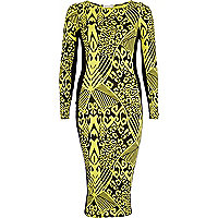 Yellow abstract print column dress