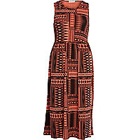Red geometric print midi dress