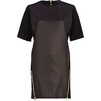 Black PU shift dress