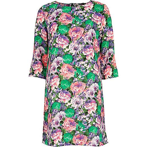 Green floral print shift dress