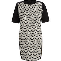 Black geometric print shift dress
