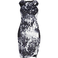 Black cosmic print racer front bodycon dress