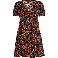 Red leopard print tea dress