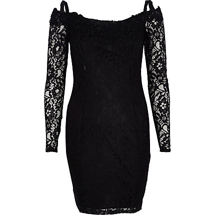 Black Lydia Rose Bright lace bodycon dress