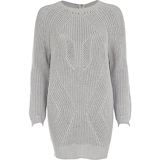 Grey geometric rib studded jumper dress