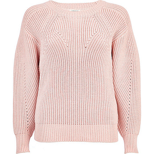 Light pink geometric rib jumper