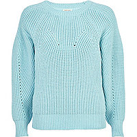 Light blue geometric rib jumper