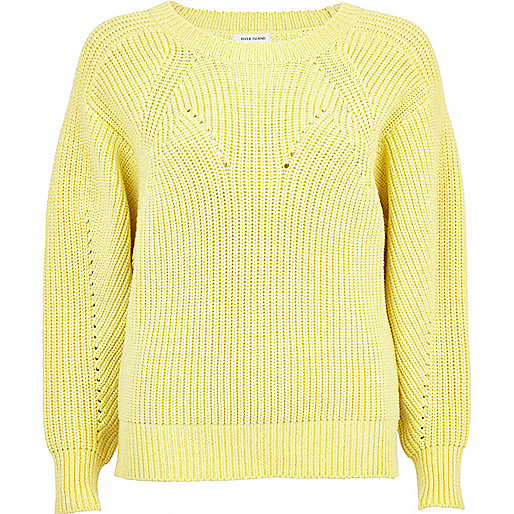 Yellow geometric rib jumper