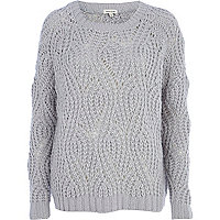 Light grey open knit jumper