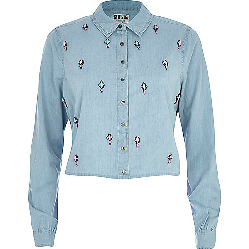 Light Chelsea Girl embellished denim shirt