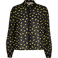 Black Chelsea Girl pineapple print blouse
