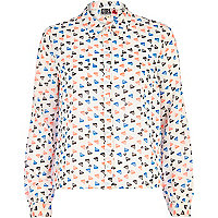 Cream Chelsea Girl triangle print boxy blouse