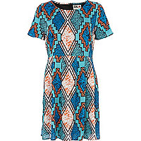 Blue Chelsea Girl aztec print t-shirt dress