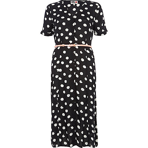 Black Chelsea Girl polka dot midi dress