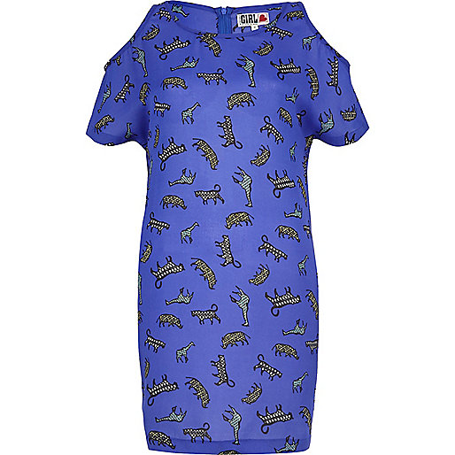 Blue Chelsea Girl safari print t-shirt dress