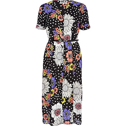 Navy Chelsea Girl daisy polka dot midi dress