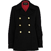 Black wool-blend pea coat