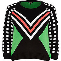 Black geometric print jumper