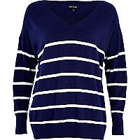 Navy stripe V neck oversized jumper