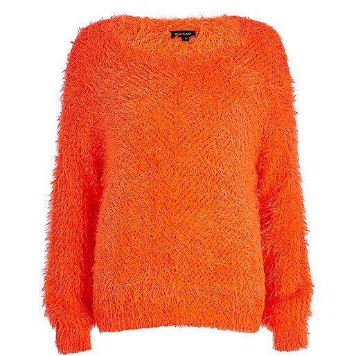 Orange eyelash knit jumper