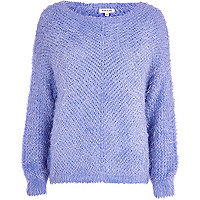 Light blue eyelash knit jumper