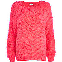 Bright pink eyelash knit jumper
