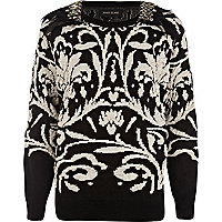 Black feather embellished jacquard jumper