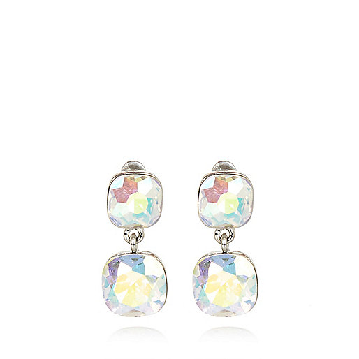 Iridescent gem stone drop earrings