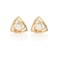 Gold tone faux pearl triangle stud earrings