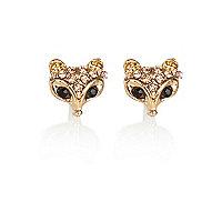 Gold tone encrusted fox head stud earrings