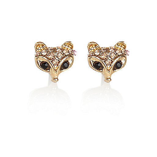 Gold tone encrusted fox head stud earrings