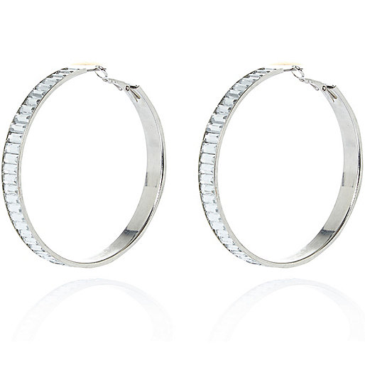 Silver tone baguette stone hoop earrings