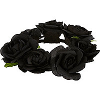 Black flower bun top hair garland