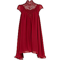 Dark red Lydia Rose Bright high neck dress
