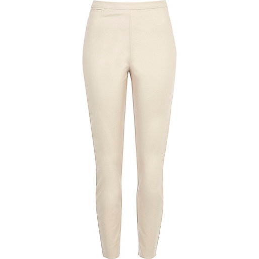 Cream skinny ankle grazer trousers