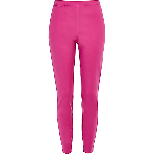 Pink skinny ankle grazer trousers