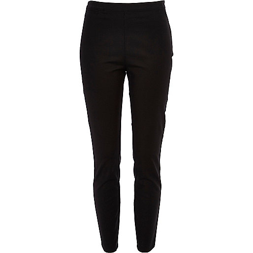 Black skinny ankle grazer trousers