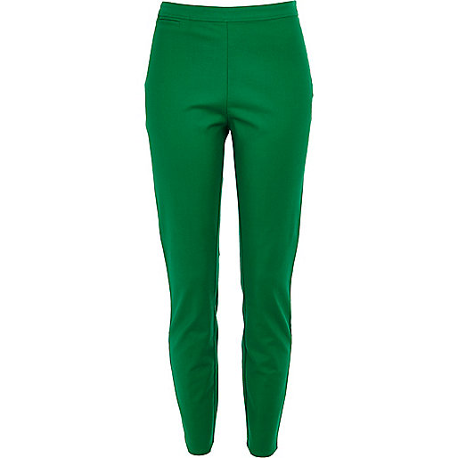 Green skinny ankle grazer trousers