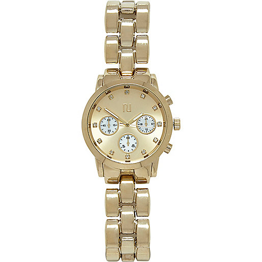 Gold tone bracelet watch
