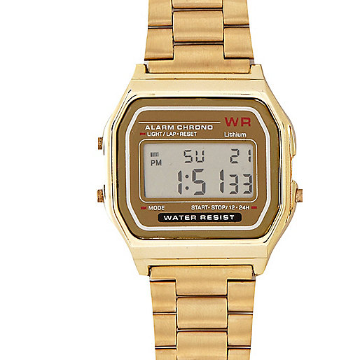 Gold tone digital watch