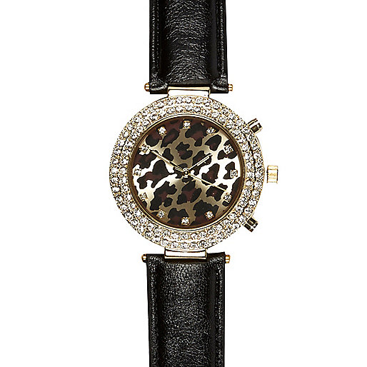 Black leather leopard face watch