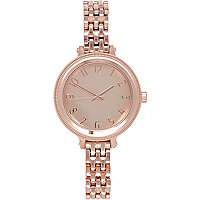 Rose gold tone oversized face bracelet watch
